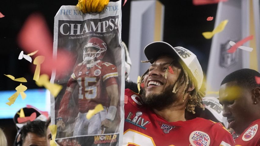 Kansas City Chiefs' Tyrann Mathieu and teammates celebrate on the podium after winning Super Bowl LIV against the San Francisco 49ers at Hard Rock Stadium in Miami Gardens, Florida, on Feb. 2, 2020. The Chiefs scored 21 points on the last quarter of the game, beating out the 49ers 31-20.