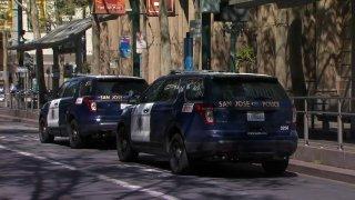 San Jose Police Department patrol vehicles.
