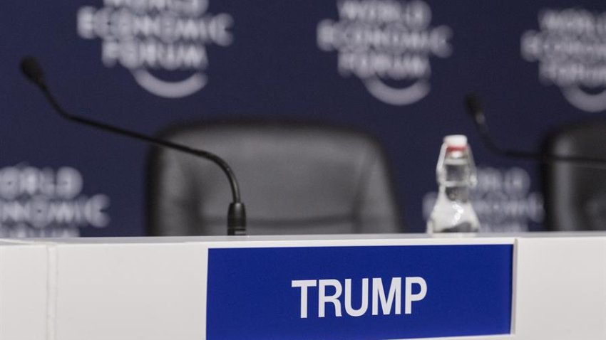 Davos (Switzerland), 22/01/2020.- A name tag indicates the spot where Ivanka Trump, Senior Advisor to the US President, will sit for a press conference during the 50th annual meeting of the World Economic Forum (WEF) in Davos, Switzerland, 22 January 2020. The meeting brings together entrepreneurs, scientists, corporate and political leaders in Davos under the topic 'Stakeholders for a Cohesive and Sustainable World' from 21 to 24 January 2020. (Suiza) EFE/EPA/ALESSANDRO DELLA VALLE
