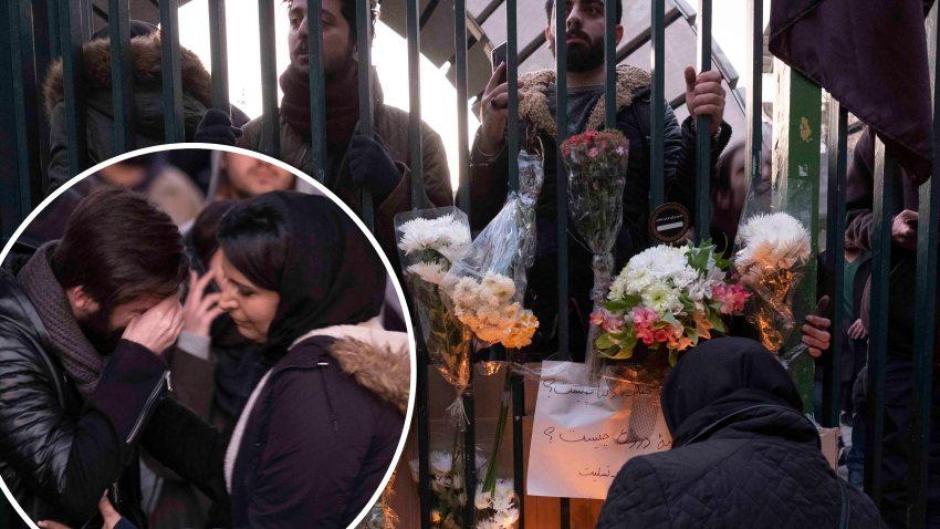Varios iraníes rinden homenaje a las víctimas del avión ucraniano derribado por Irán.