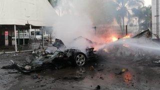 Explosión de auto en Celaya