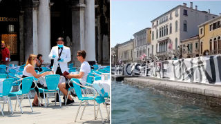 Residentes de Venecia protestan en contra del turismo de masas.