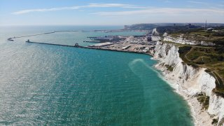 Bird's eye view of Dover Port and the white cliffs of the English Channel.