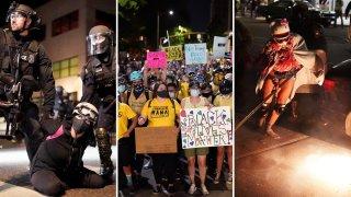 Combinación de fotografías de protestas en Portland, Oregon.