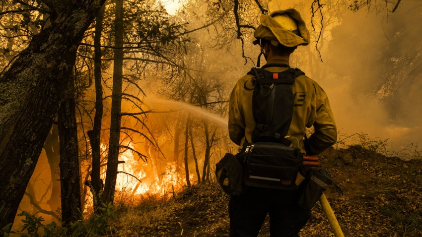 A firefighter extinguishes portions of a controlled burn during the Glass Fire.