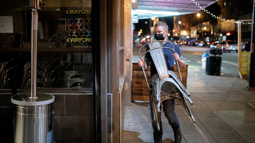 Manager Shane Baldwin removes the outdoor dining area and closes Myriad Gastropub in San Francisco.