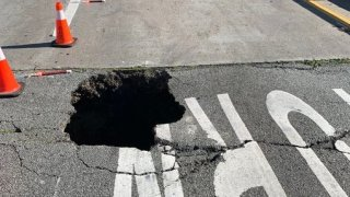 A sinkhole on an I-280 off-ramp in San Francisco.
