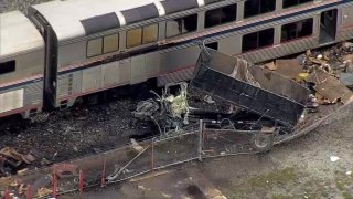 A truck at rest after being hit by an Amtrak train in Oakland.