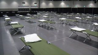 beds inside the convention center