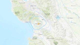 A shake map for a 3.5 magnitude earthquake that struck near Gilroy.