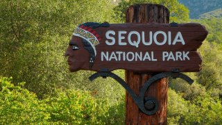 Sequoia National Park sign.