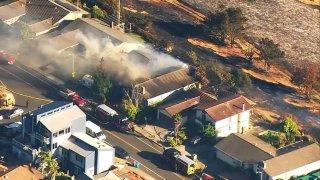 Firefighters battle a fire in Vallejo.