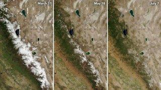 Images show the Sierra Nevada snowpack melt away.