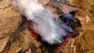 A brush fire burns near Schellville in Sonoma County.