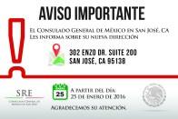 Nueva  dirección del Consulado General de México en San José