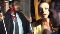 Elementos de seguridad intentaron evitar que la actriz fuera abordada por la prensa.