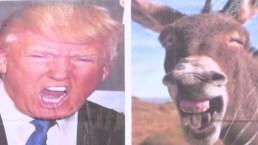 Presentan a Trump como un burro