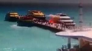 En video: captan terrible explosión de ferry en México