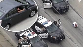 Peligrosa persecución en autopista acaba a balazos