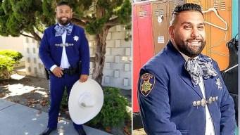 Convierten su uniforme policial en un traje de charro