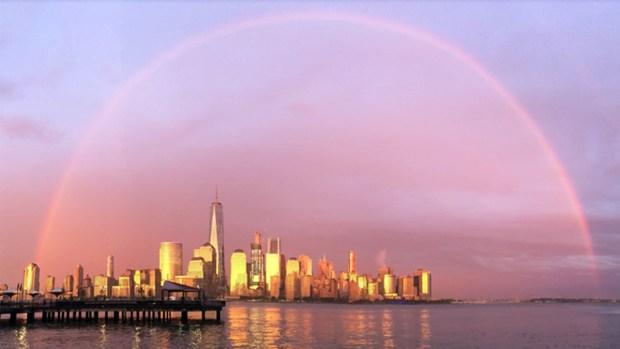 Doble arcoíris deslumbra a Nueva York