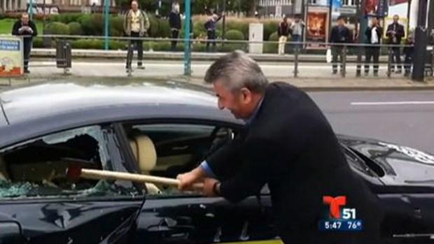 Video: Hombre destruye su BMW a hachazos