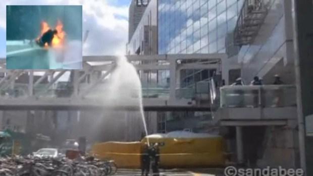 Video: Manifestante se prende fuego en Tokio