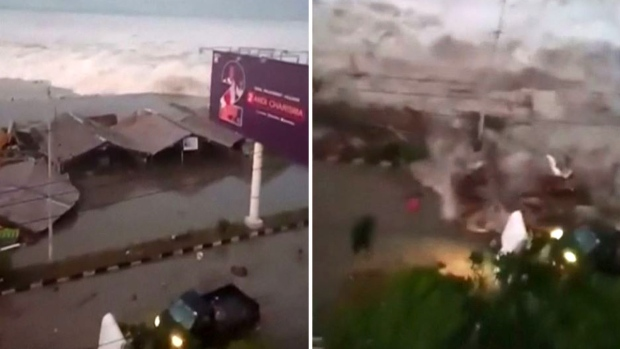 [TLMD - LV] Aterrador video: el momento en que tsunami llega y arrasa con todo