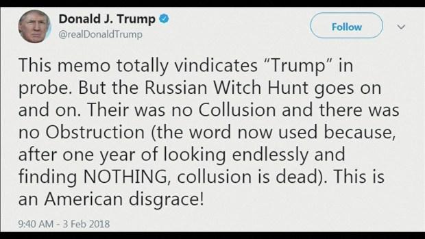 [TLMD - MIA] Trump dice en Twitter que memo lo limpia de culpa