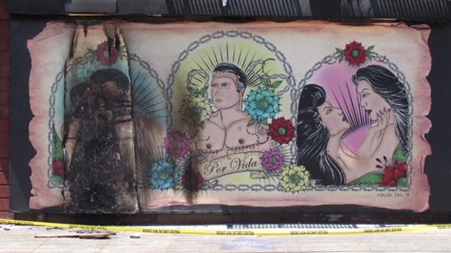 Incendian mural chicano en un tercer acto de vandalismo
