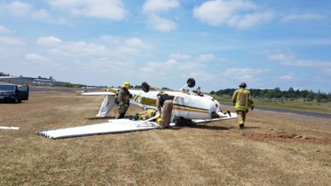 Auburn: avioneta queda llantas arriba