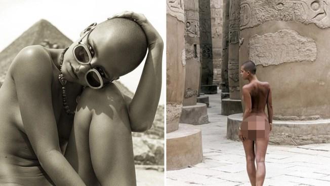 Polémica por fotos de modelo desnuda frente a pirámides